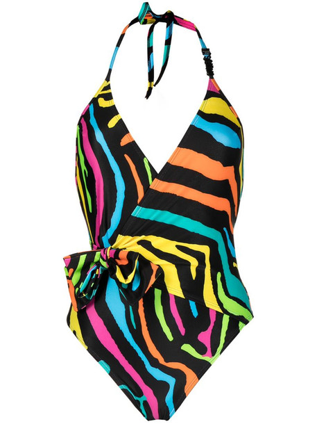 Moschino bow-detail wrap swimsuit in black