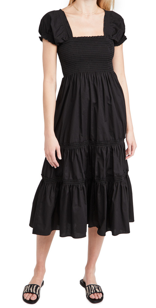 OPT Square Neck Smocked Maxi Dress in black