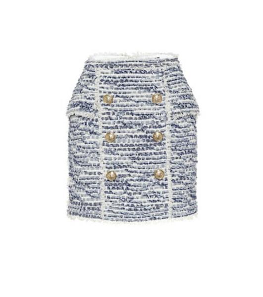 Balmain Tweed miniskirt in blue