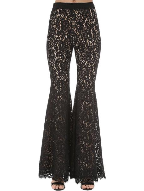 AMEN BLACK Flared Lace Pants in black