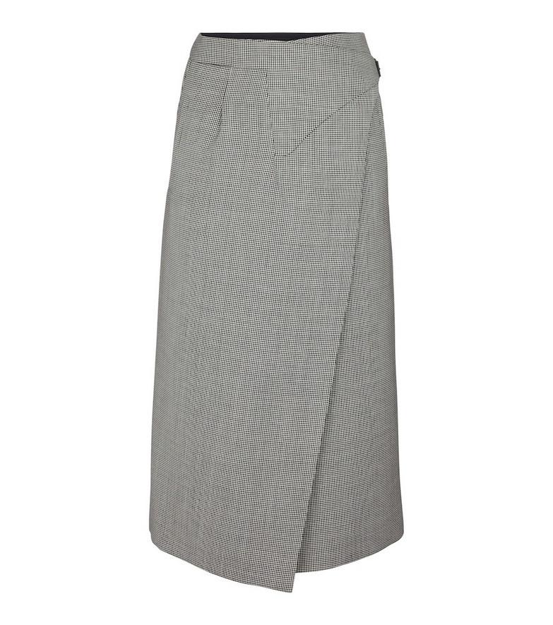 WARDROBE.NYC Houndstooth wool midi skirt in black