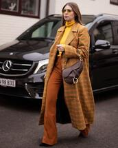 sweater,turtleneck sweater,yellow,flare pants,high waisted pants,black boots,long coat,brown ba,dior bag