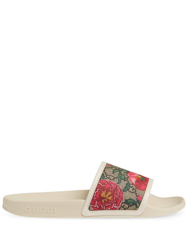 Gucci GG Flora pattern slides in white
