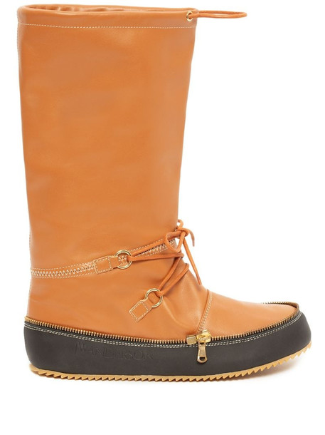 JW Anderson calf-length moon boots in brown