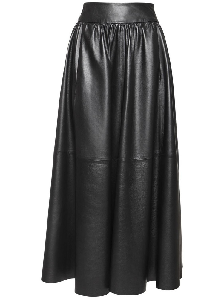 SIMONETTA RAVIZZA High Waist Pleated Leather Midi Skirt in black
