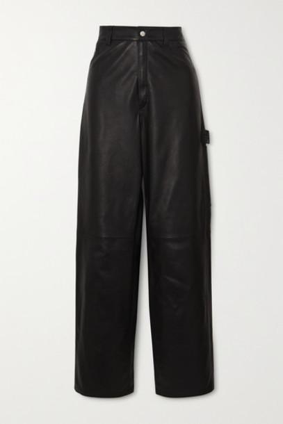 Unravel Project - Leather Straight-leg Pants - Black