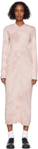 Raquel Allegra Pink Tie-Dye Long Sleeve Fitted Dress in blush