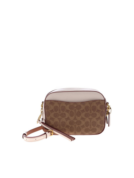 Coach Logo Camera Shoulder Bag in brown / white