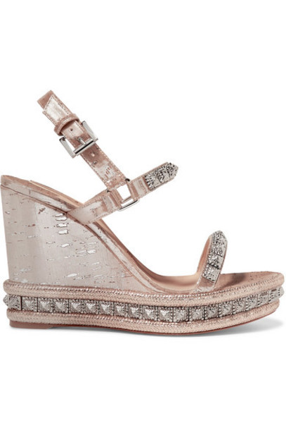 Christian Louboutin - Pyradiams 110 Spiked Lamé Wedge Sandals - Silver