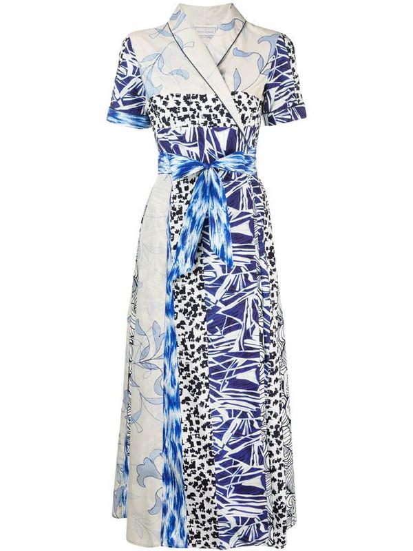 Pierre-Louis Mascia patchwork print wrap dress in blue