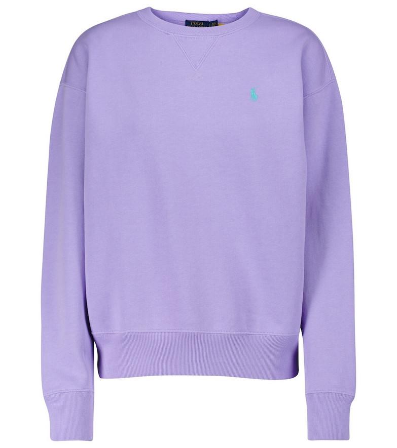 Polo Ralph Lauren Logo cotton-blend jersey sweatshirt in purple