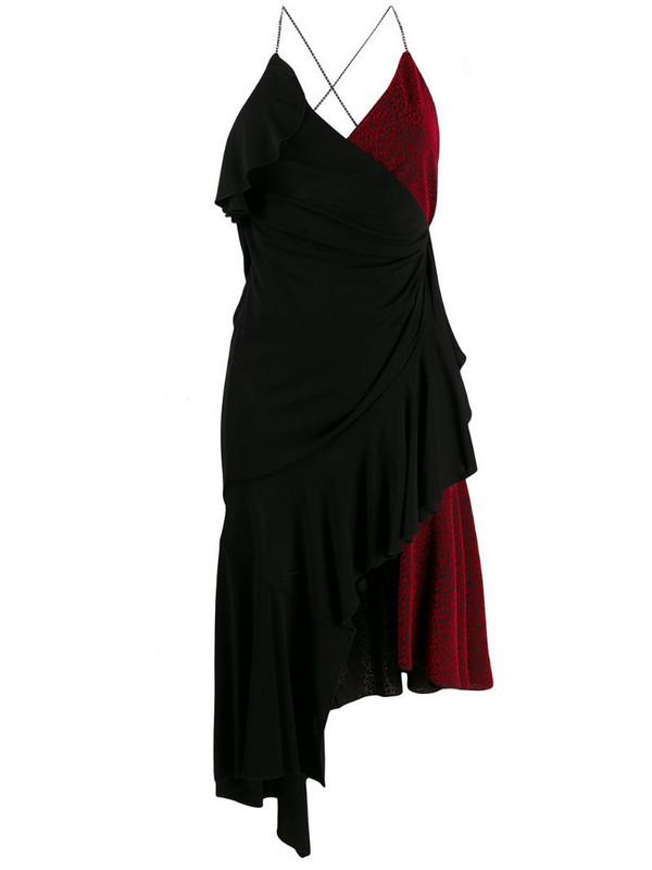 Philosophy Di Lorenzo Serafini asymmetric wrap-style color-block dress in black