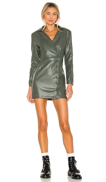 KENDALL + KYLIE KENDALL + KYLIE Vegan Leather Blazer Dress in Green