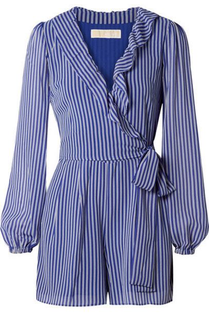 MICHAEL Michael Kors - Wrap-effect Ruffled Striped Georgette Playsuit - Blue