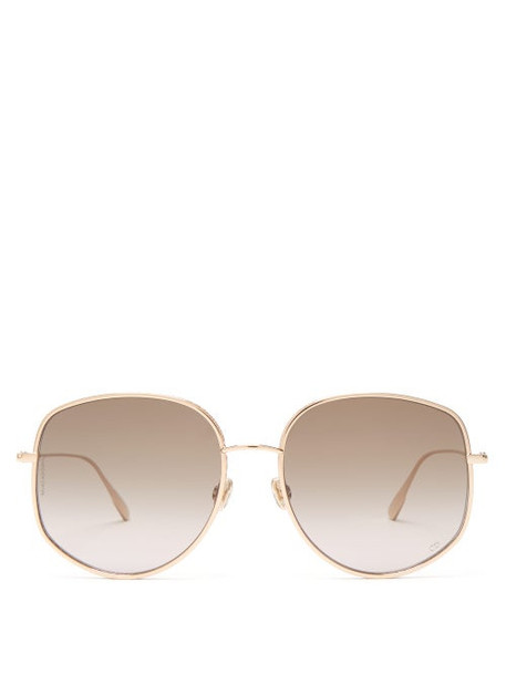 Dior Eyewear - Dior By Dior Oversized Round Metal Sunglasses - Womens - Green Gold