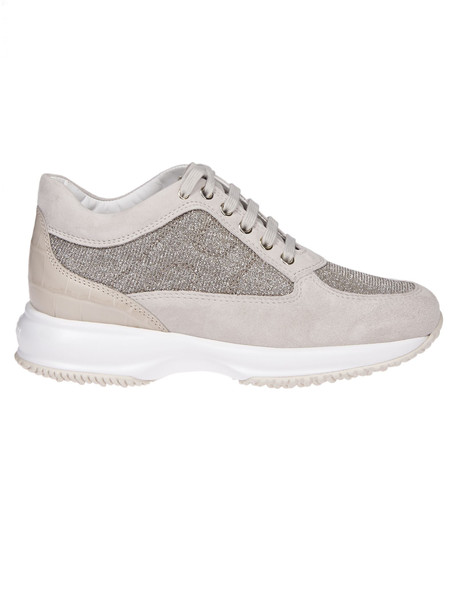 Hogan Contrast Sole Sneakers in white