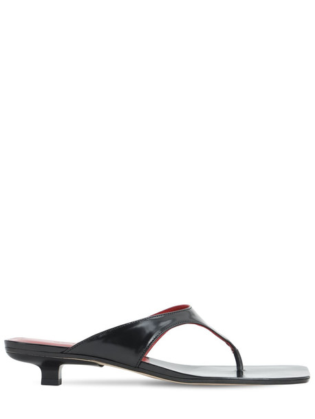 BY FAR 30mm Jack Brushed Leather Thong Sandals in black