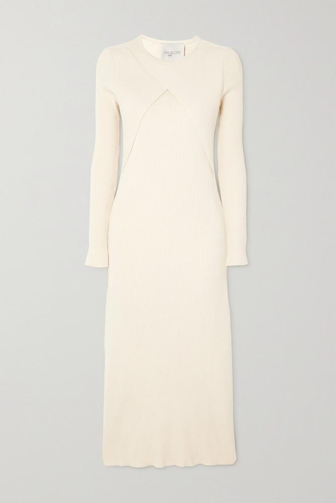 Envelope Envelope1976 - Vestby Ribbed Organic Cotton Midi Dress - Cream