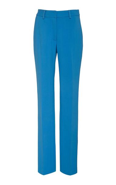 Carolina Herrera High-Waisted Crepe Straight-Leg Pants in blue