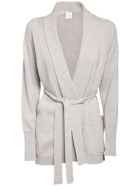 MAX MARA Belted Wool Knit Cardigan in grey