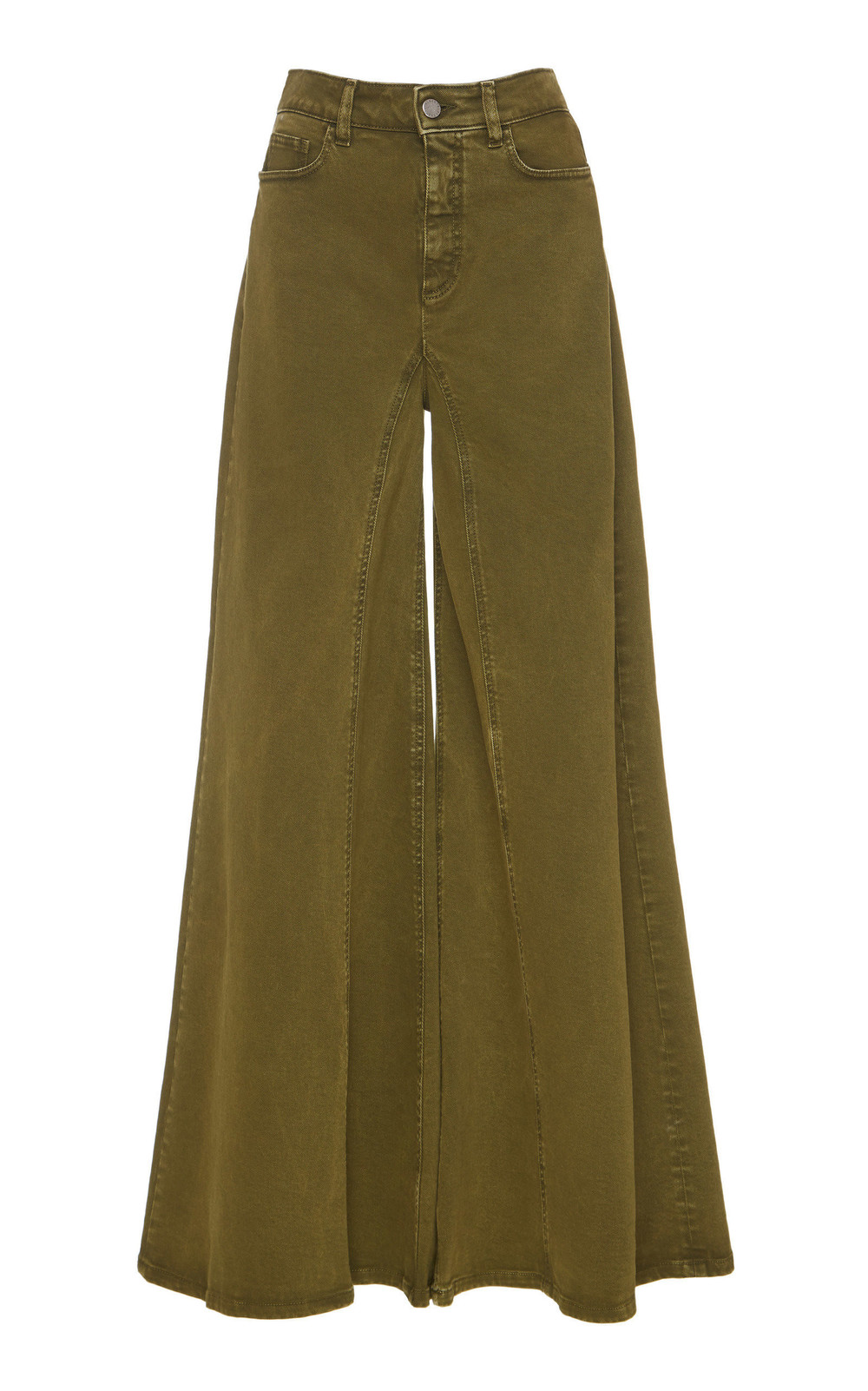 Alberta Ferretti Stretch Denim Wide Leg Pant in green