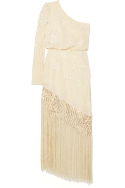 9caca842 Johanna Ortiz Johanna Ortiz - Sevilana Tan Sonriente One-shoulder  Embroidered Silk-satin Maxi Dress - Ecru