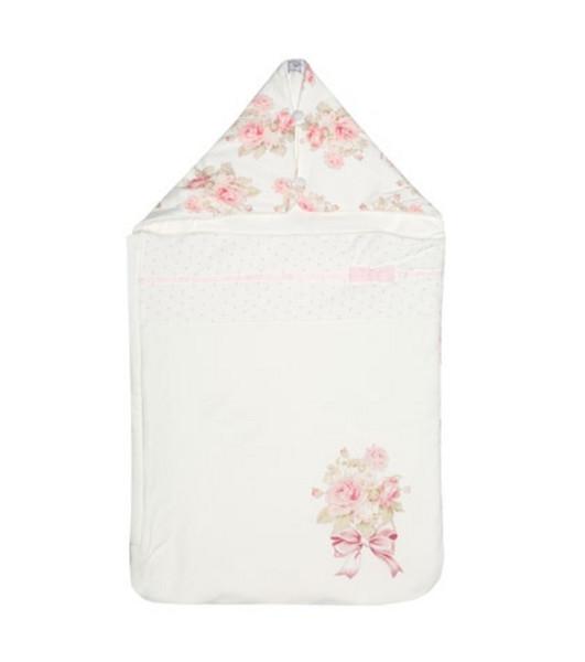 Monnalisa Floral cotton bunting bag in white