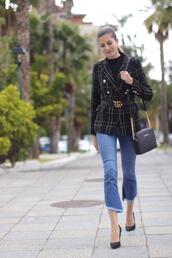 marilyn'scloset,blogger,top,jacket,jeans,shoes,bag,belt,jewels