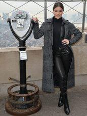 coat,hailee steinfeld,fall outfits,pants,top,bodysuit,black top