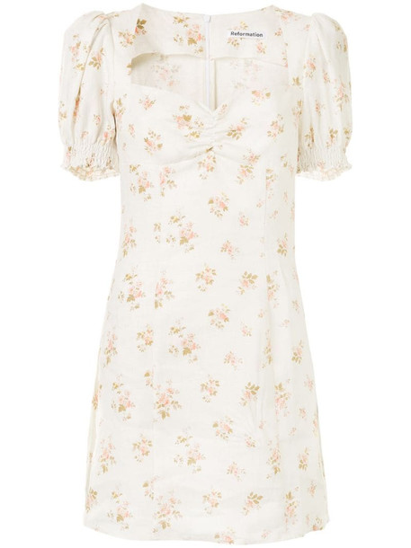 Reformation Gina floral-print mini-dress in white