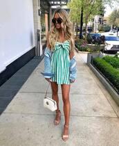 dress,mini dress,sleeveless dress,striped dress,sandals,denim jacket,white bag,gucci bag