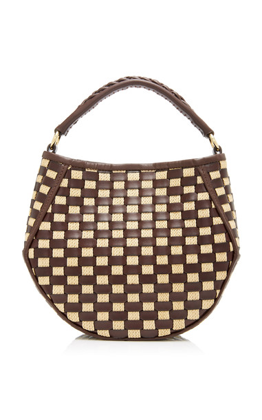 Wandler Corsa Mini Woven Leather Top Handle Bag in print