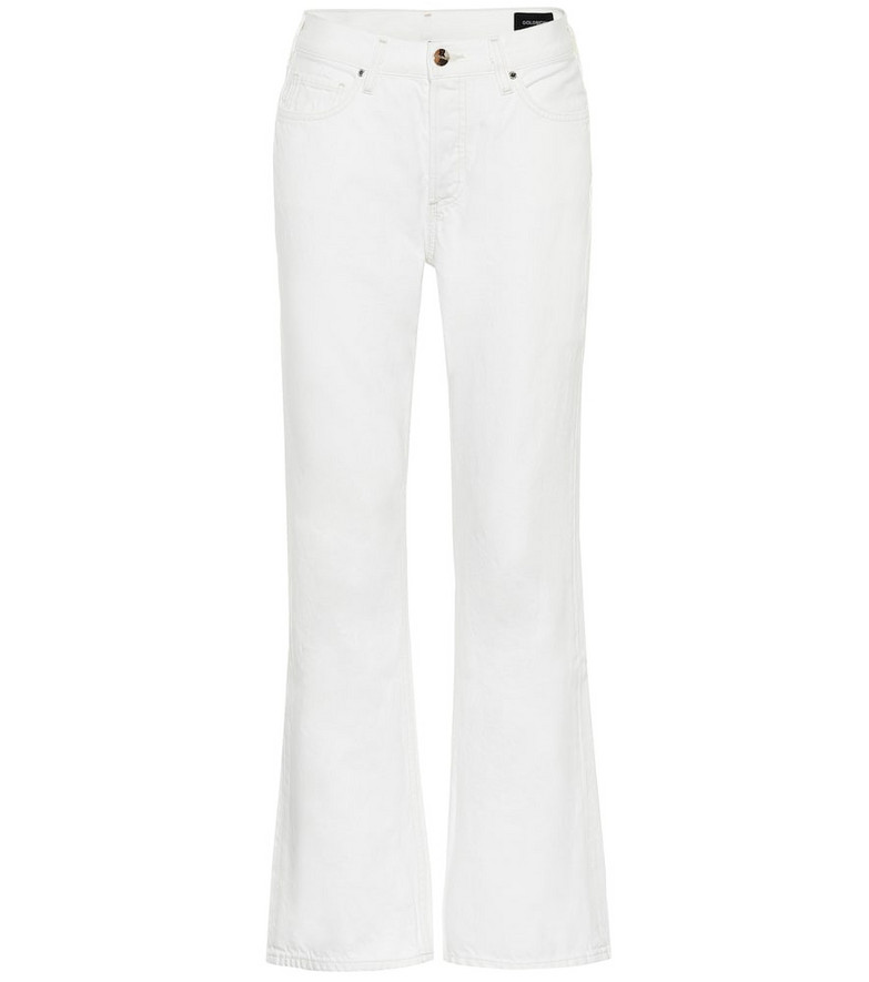 Goldsign High-rise cropped flared jeans in white