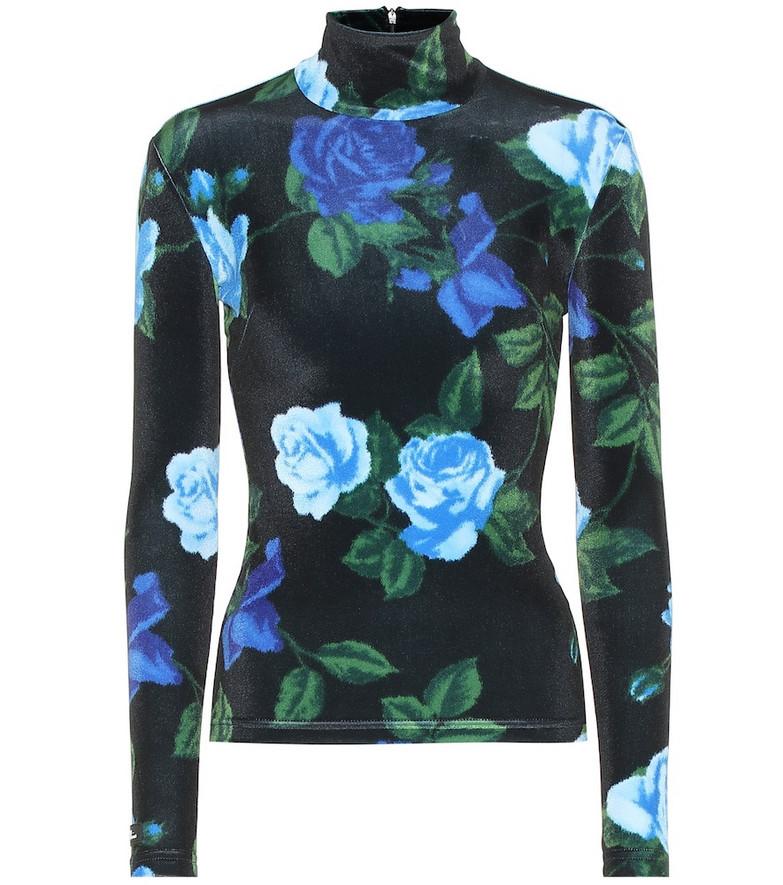 Richard Quinn Floral stretch-velvet top in black