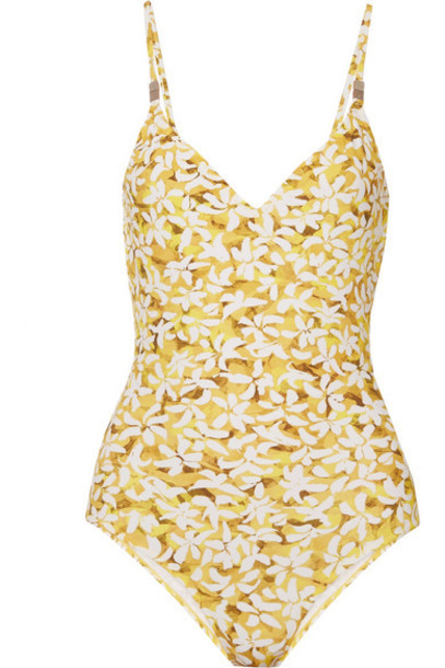 On The Island By Marios Schwab - Asterias Floral-print Swimsuit - Yellow