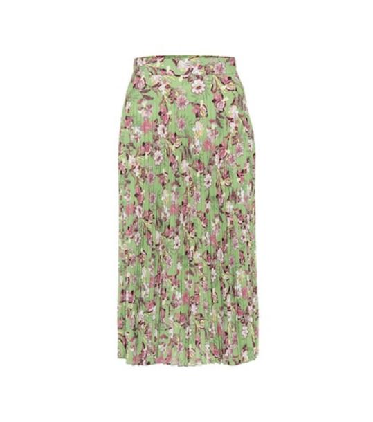 Vetements Pleated floral crêpe skirt in green