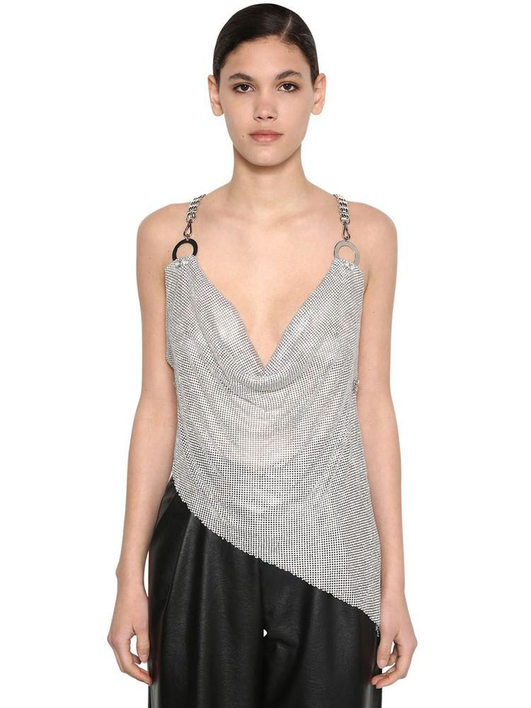 GIUSEPPE DI MORABITO Backless Crystal & Metal Mesh Top in silver
