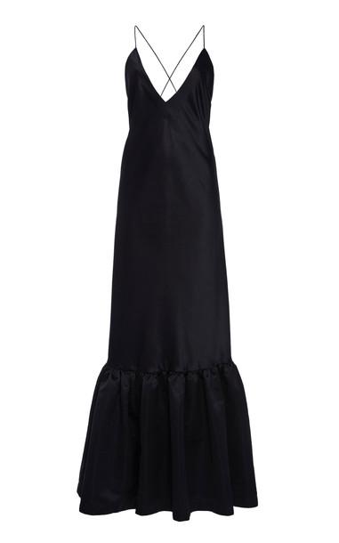 Rahul Mishra Ruffle-Hem Satin Slip Dress Size: 38 in black