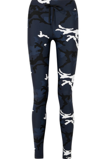 The Upside - Yoga Camouflage-print Stretch Leggings - Navy