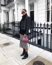 bag,shoulder bag,topshop,black boots,patent boots,midi skirt,black jacket,leather jacket,black sweater,turtleneck sweater