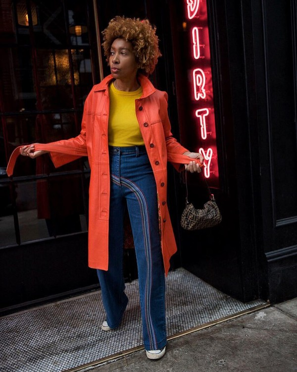 jeans flare jeans high waisted jeans sneakers orange coat long coat yellow sweater shoulder bag fendi