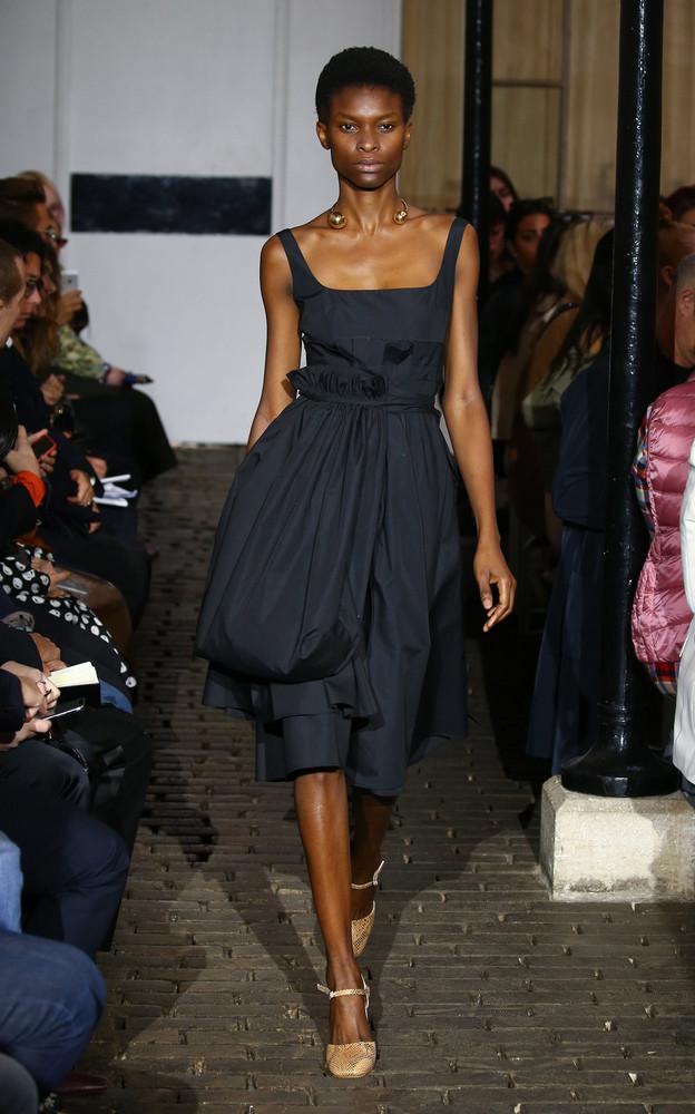 A.W.A.K.E. A.W.A.K.E. Camilla Belt Bag Crepe De Chine Midi Dress in black