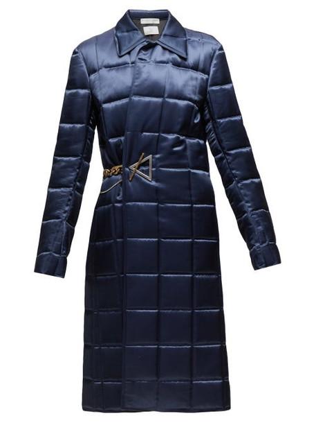 Bottega Veneta - Chain Embellished Quilted Satin Coat - Womens - Navy
