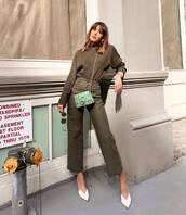 sweater,high waisted pants,wide-leg pants,army green,mules,mini bag