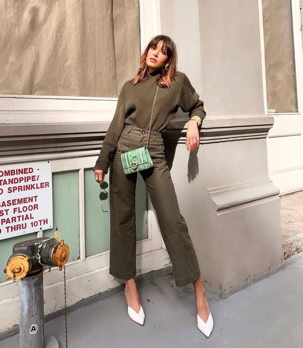 sweater high waisted pants wide-leg pants army green mules mini bag