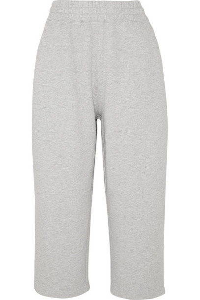 alexanderwang.t - Cropped Cotton-terry Track Pants - Light gray