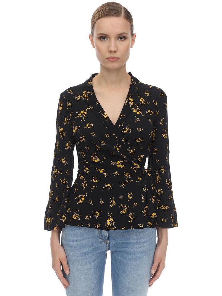 GANNI Printed Crepe Wrap Shirt in black / yellow