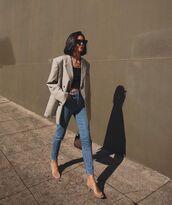 jeans,skinny jeans,sandals,oversized,blazer,black top