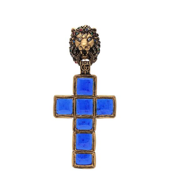 Gucci Lion head single earring in blue
