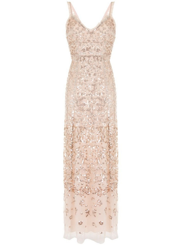 Needle & Thread sequin embellished ruffle trim gown in pink